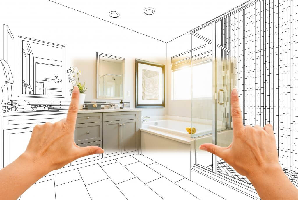 Master bathroom photo section with drawing behind | Shoreline Flooring