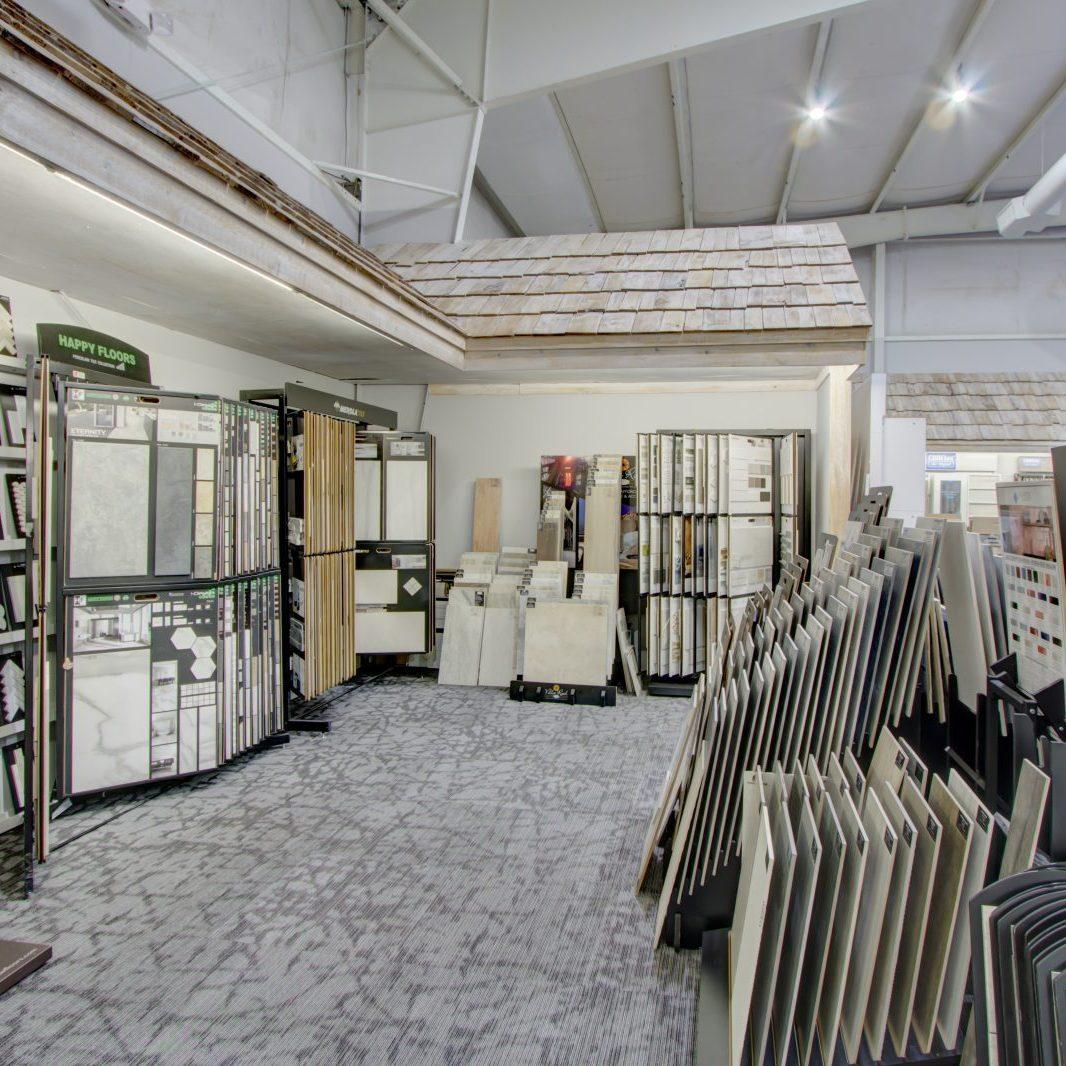 Variety of flooring products in showroom | Shoreline Flooring